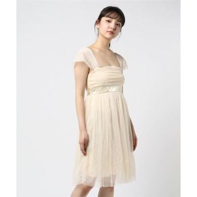 ドレス ドットチュールスライド袖サテンリボン切り替えパーティードレス