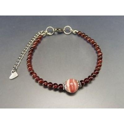 『薔薇人生』天然石縞入りインカローズガーネット小玉ワイヤ加工ブレス