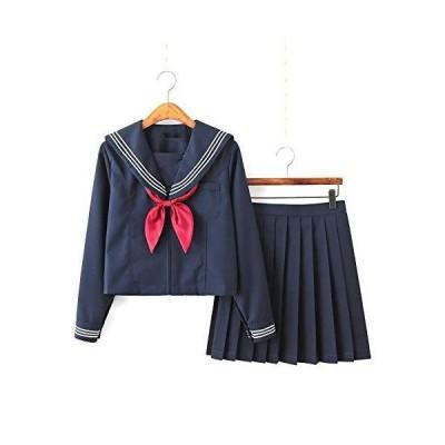 Aculldo セーラー服 ネイビー 紺色 長袖 半袖 ロングスカート コスプレ コスチューム 白三本 前開き 3点セット 可愛い 仮装 本