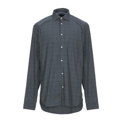 MANUEL RITZ マニュエルリッツ 柄入りシャツ  メンズファッション  トップス  シャツ、カジュアルシャツ  長袖 ダークブルー