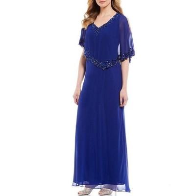 ジェーカラ レディース ワンピース トップス Petite Size Beaded Trim Chiffon Popover Gown