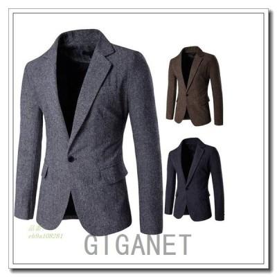 メンズテーラードジャケット長袖上品スーツ生地ビジネス紳士四季一つボタンスリムM全3色きれいめカジュアル2XL