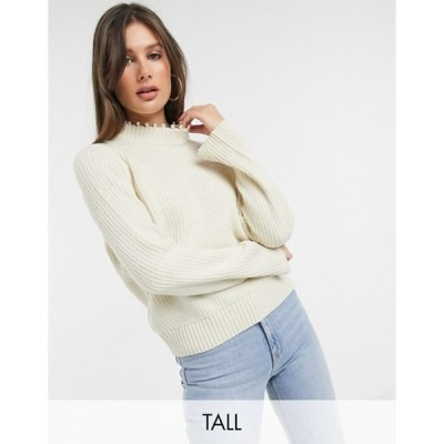 ベロモーダ レディース ニット・セーター アウター Vero Moda Tall ribbed sweater with pearl neck detail in cream