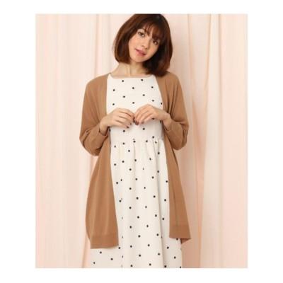 クチュール ブローチ Couture brooch スカラップ袖ロングカーディガン (サンドベージュ)