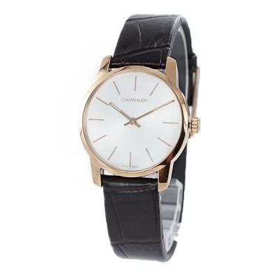 カルバンクライン CK レディース City シティ ローズゴールド ブラウン レザー 革ベルト K2G23620 あすつく 腕時計
