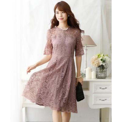 ドレス 七分袖&ミニ丈ワンピースドレスラウンドネック大きいサイズ結婚式フォーマル
