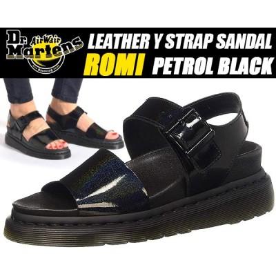 Dr.Martens ROMI black PETROL ドクターマーチン ロミ サンダル レディース 厚底 ウィメンズ バックル Y ストラップ  パテント