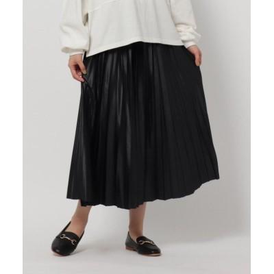 【ザ ショップ ティーケー】 レザーライクジャージプリーツスカート/ONSTYLE レディース ブラック 12(M) THE SHOP TK