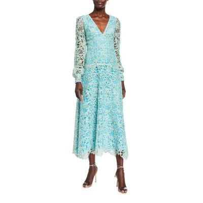 モニークルイリエ レディース ワンピース トップス Long-Sleeve Lace Dress