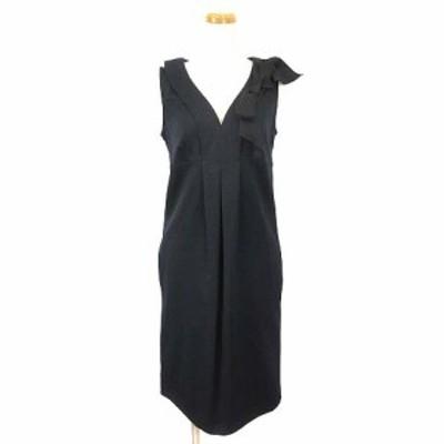 【中古】ラブモスキーノ LOVE MOSCHINO ワンピース ドレス ノースリーブ ひざ丈 リボンモチーフ 40 黒 ブラック ECR3