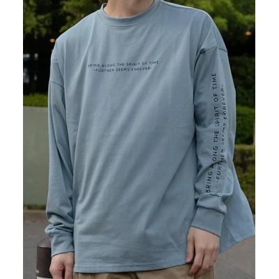 【シルバーバレット】 CavariA自転車イラストクルーネック長袖ビッグTシャツ メンズ ブルー 46(L) SILVER BULLET
