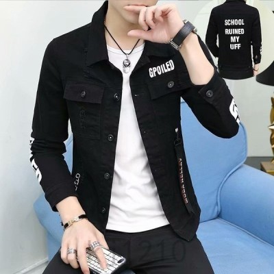デニムジャケットメンズGジャン折り襟長袖ボタン英文字ストラップ付きカジュアルスクール風かっこいいアウター韓国モード