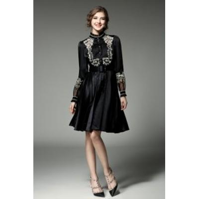 フリルネック ワンカラー 透け感 バイカラー 花柄刺繍 ウエストベルト 膝丈 ドレス