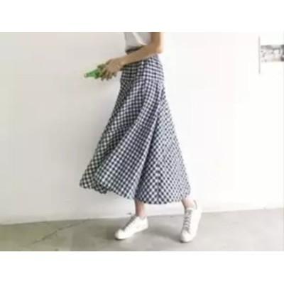 乙女度UP 揺れる ギンガムチェック ロング フレアスカート ボトムス レディース 【0392】