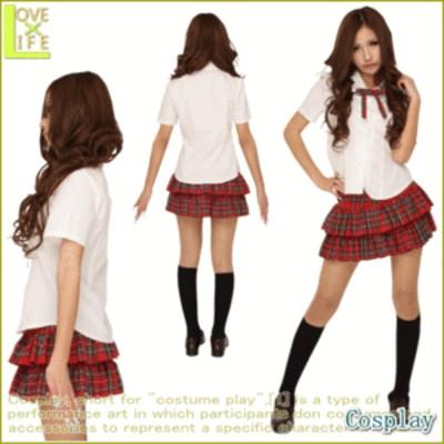 アキイロ制服【制服】【2012年新作】かわいいチェック柄の制服。フリルたっぷりのスカートと、おそろいのリボンタイでアイドル風!【コス