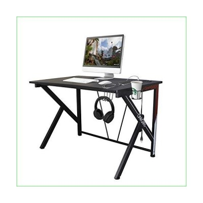 """COZUHAUSE K-Shaped Computer Gaming Desk 45.7"""" Black Carbonized Pattern with USB Charging Port,Headphone Hook and Cup Holder Gaming Table Workstation ("""