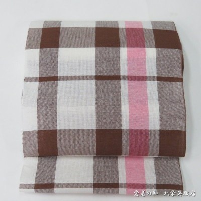 竺仙(ちくせん)本麻八寸名古屋帯 茶色・ピンク