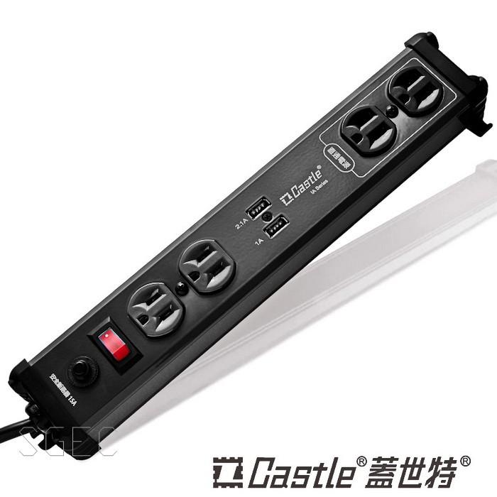 Castle 蓋世特 IA4 SBU 鋁合金電源突波智慧型 USB充電插座 延長線180cm 3孔4座+2座U 黑色