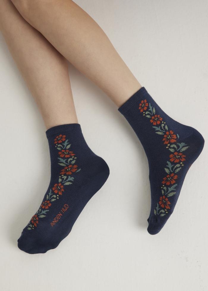小閣樓.舒棉短襪(深藍-粉橘花)