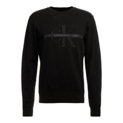 カルバンクライン メンズ パーカー・スウェットシャツ アウター TAPING THROUGH MONOGRAM - Sweatshirt - black black