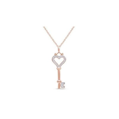White Natural Diamond Heart Key Pendant Necklace in 14k Rose Gold Over Sterling Silver (0.07 Ct)[平行輸入品]