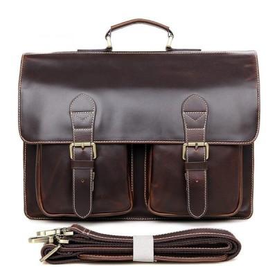 ビジネスバッグ メンズ 本革 2way ブリーフケース ブラウン アンティーク レザー 14インチPC収納 ショルダーバッグ 手提げバッグ 通勤鞄