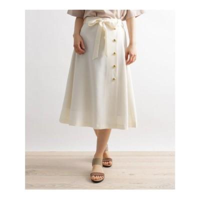 グローブ grove 麻調金釦使い共ベルト付きスカート (アイボリー)