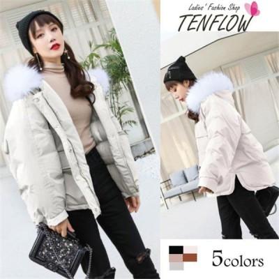 ダウンコート レディース 中綿コート ダウンジャケット ショットコート 軽量コート ダウン フード付き アウター フェイクファー 女性用コート 大きいサイズ