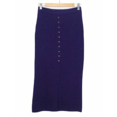 【中古】FUEGO スカート ニット タイト ロング スリット ウール M イタリア製 紫 パープル レディース