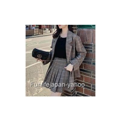セットアップ ファッション  ミニスカート ゆったりジャケット プリーツスカート オルチャン ファッション セットアップ