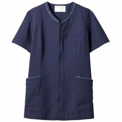 住商モンブラン レディスジャケット 半袖 ネイビー/ブルー 3L 73-2078(直送品)