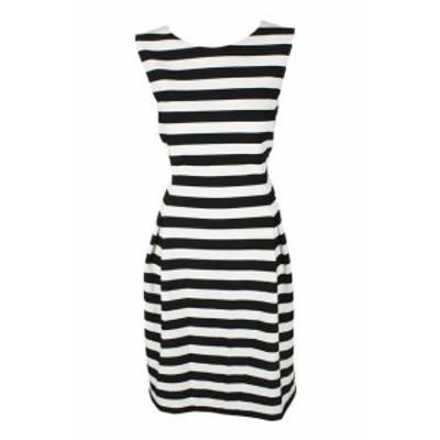 Jessica Howard ジェシカハワード ファッション ドレス Jessica Howard Black White Sleeveless Textured Striped Fit & Flare Dress 12P