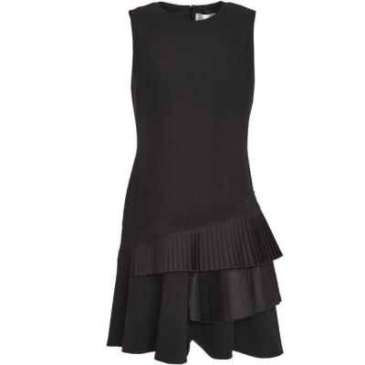 ヴィクトリア ベッカム VICTORIA, VICTORIA BECKHAM レディース ワンピース ミニ丈 ワンピース・ドレス Flared pleated satin-paneled crepe mini dress Black
