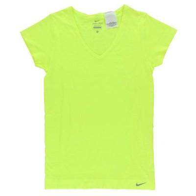 レディース 衣類 トップス Nike Women's Dri Fit Knit Textured V Neck Shirt Bright Yellow S Tシャツ