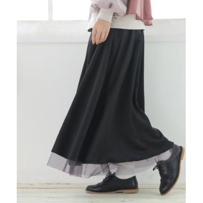 【オシャレウォーカー】 『サテン×チュールリバーシブルスカート』 レディース ブラック フリーサイズ osharewalker