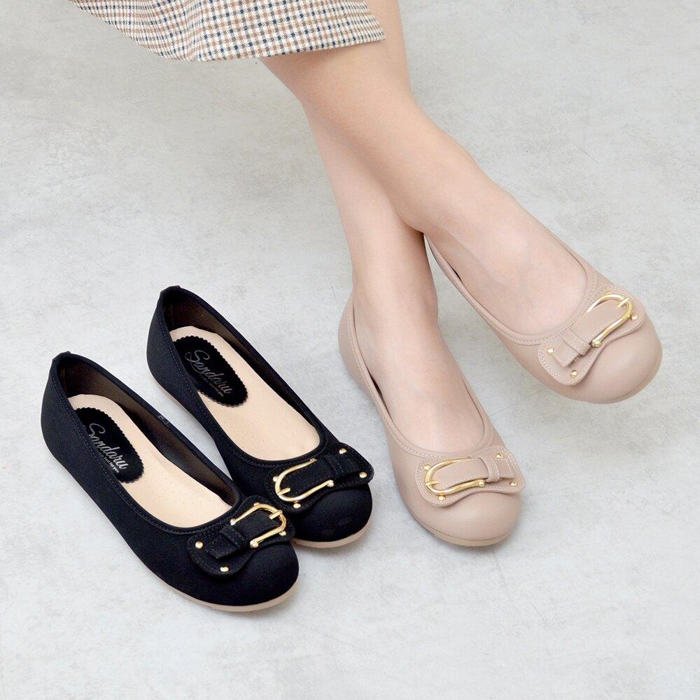娃娃鞋 造型皮帶釦圓頭軟底豆豆鞋-黑