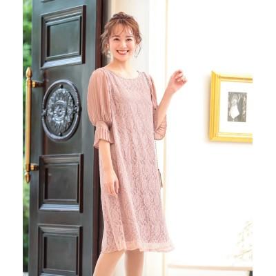 【結婚式。お呼ばれ。二次会】袖プリーツ使いレースワンピースドレス<大きいサイズ> ,スマイルランド, 【謝恩会・パーティドレス】Dress