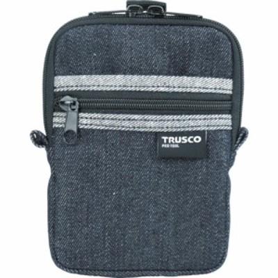 トラスコ デニムコンパクトケース 2ポケット ブラック (1個) 品番:TDC-K102