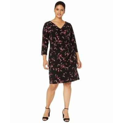 ラルフローレン レディース ワンピース トップス Plus Size Floral Pleated Jersey Dress Black/Parlor Red/Multi