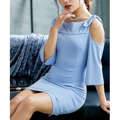 オフショルダータイトキャバドレス(タイトワンピース・ショルダーリボン・3サイズ・ブルーグレー・黒) Dress