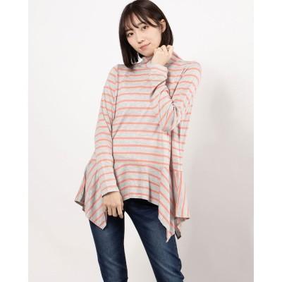リネーム Rename 裾デザインタートルネックカットソー(グレー×ピンク)