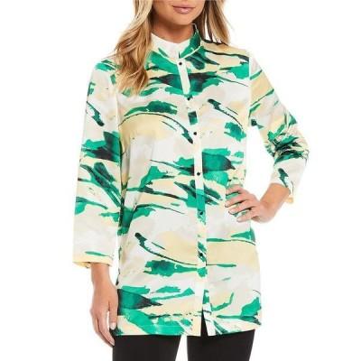 ミソーク レディース ジャケット&ブルゾン アウター Multi Abstract Bracelet Sleeve Button Front Jacket Island Green/Multi