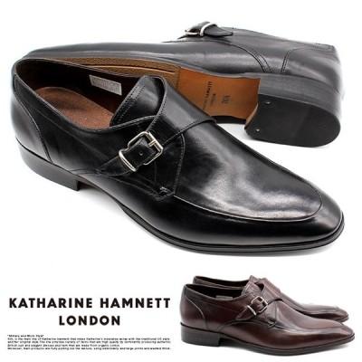 【サイズ交換1回無料 】キャサリンハムネット ビジネスシューズ 靴 革靴 紳士靴 メンズ 本革 ベルト ストラップ スリッポン モンク 31632