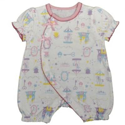 女の子 ベビー フィットオール 半袖 天竺素材 綿100% 新生児 メルヘン柄 半袖 肌着 下着 赤ちゃん WH-ホワイト 50-60cm/60-70cm