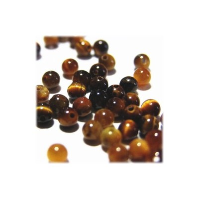 6761-天然石 2mm丸玉 タイガーアイ 50粒