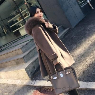 人気新品 チェスターコート レディース コート ファー付き フード付き ベルト アウター ゆったり 秋