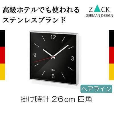 掛け時計 ステンレス 壁掛け時計 壁掛時計 約26cm 四角 スクエア ブラック シンプル おしゃれ ZACK 送料無料