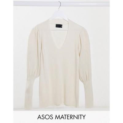 エイソス ASOS Maternity レディース ニット・セーター マタニティウェア Vネック ASOS DESIGN Maternity v neck jumper with volume sleeve in cream クリーム
