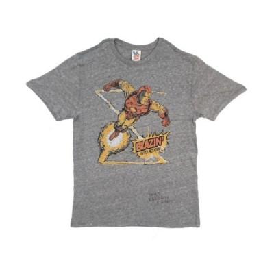 ジャンクフード Tシャツ トップス シャツ Iron Man Blazin Into Action Marvel Comics Junk Food ライセンス アダルト Tシャツ S-XXL