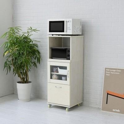 7月末入荷予定 レンジ台 キッチン 収納 幅45 H120 ホワイト (FLL-1002-WH) 食器棚 Lycka Land
